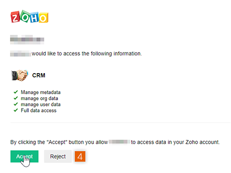 Allow access to Zoho account