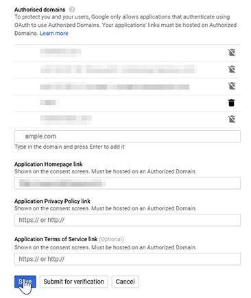 Authorising domains