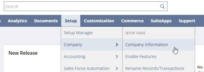 Select Company Information from Setup menu