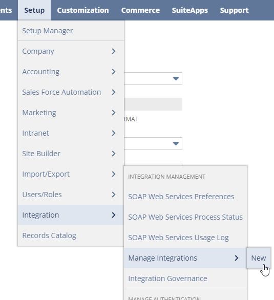 Select Manage Integrations from Setup menu
