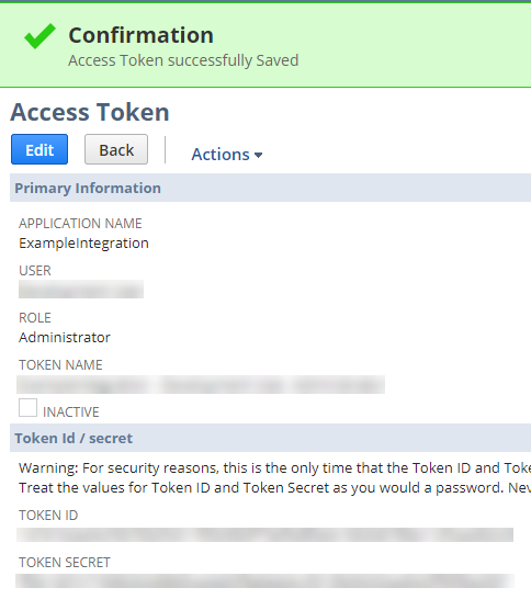 Access Token confirmation