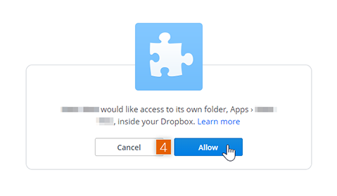 Allow Dropbox account access