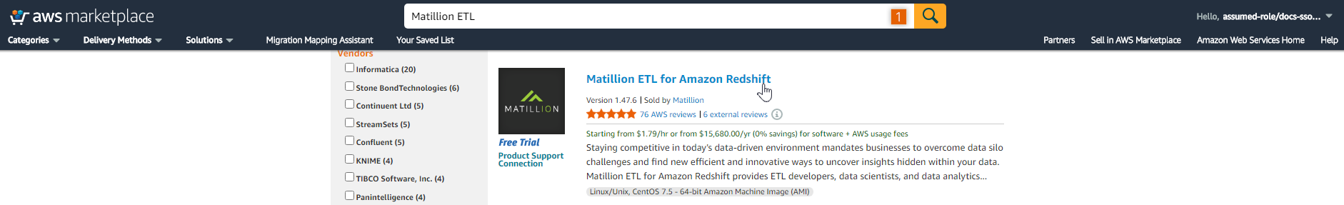 Locate Matillion ETL in AWS Marketplace