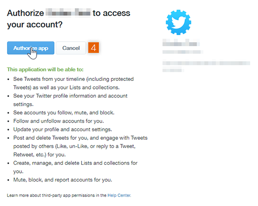 Authorise access to Twitter account