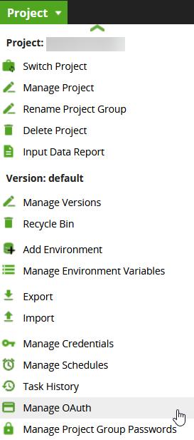 Project dropdown menu