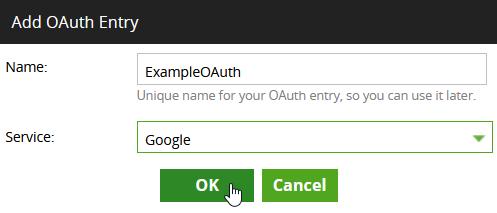 Create OAuth Entry window