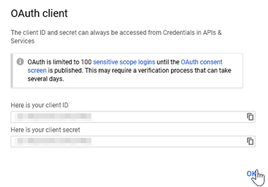 Copy the client ID and secret