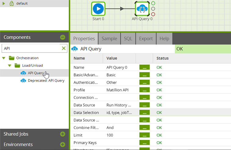 API Query Component-properties