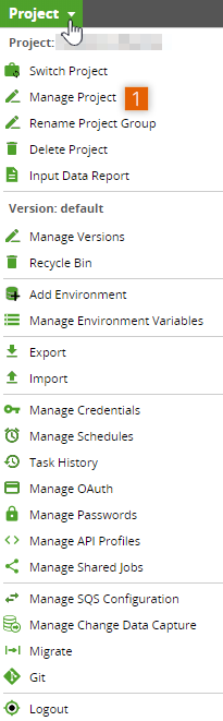 Project dropdown menu