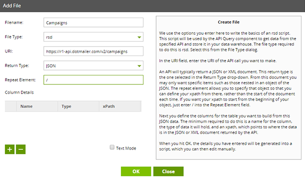 Add RSD file to Dotmailer API Profile