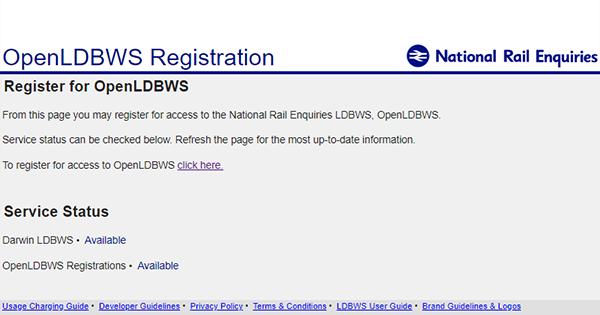 OpenLDBWS Registration portal