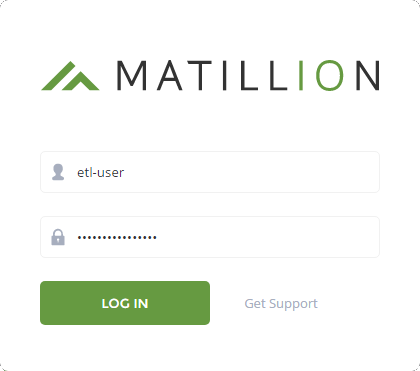 Matillion ETL login screen