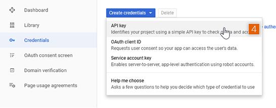 API key credentials