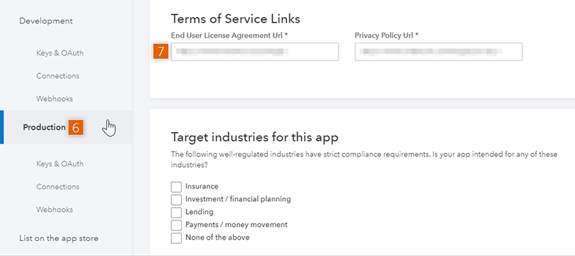 Terms of Service Links
