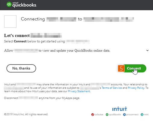 Connect to QuickBooks online data