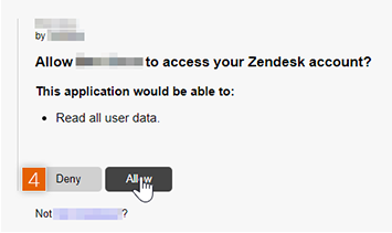 Allow access to Zendesk account