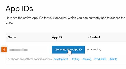 Generate New App ID