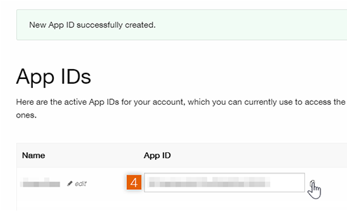 Copy App ID