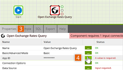 Open Open Exchange Rates Query connector properties