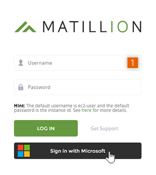 Matillion ETL login screen with OpenID