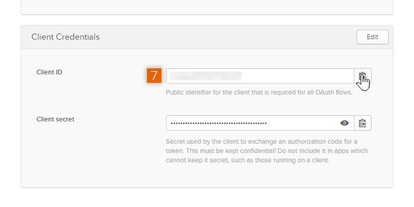 Copy the Client ID and Client Secret