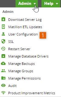 Admin dropdown menu