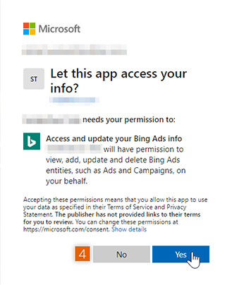 Connect and Allow access to Microsoft account