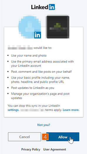 Allow LinkedIn access