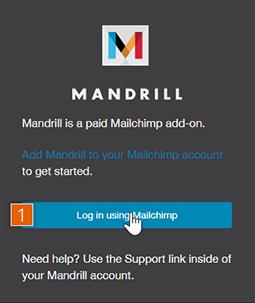 Mandrill app log in screen