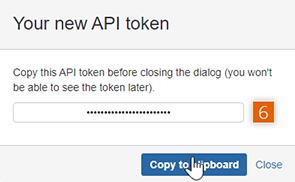 Copy new API token