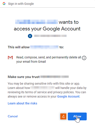 Connect and Allow access to Google account