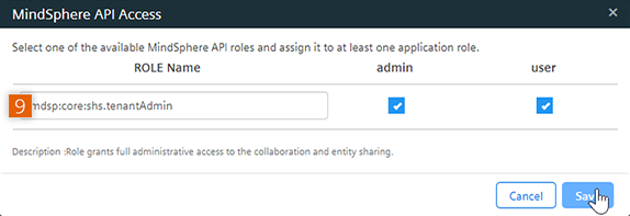 Add MindSphere API Role
