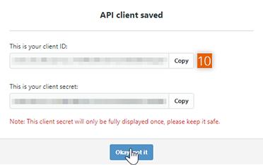 Copy client ID and client secret