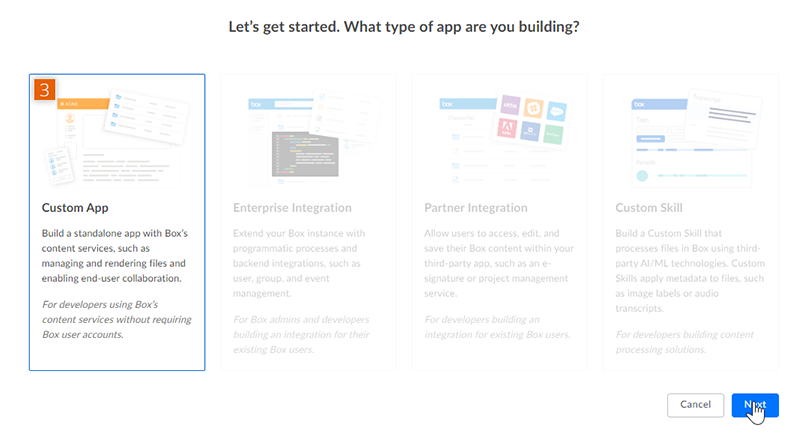 Choose the type of app to be built