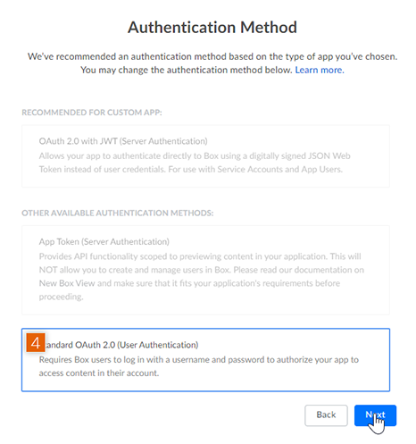 Choose the Authentication Method