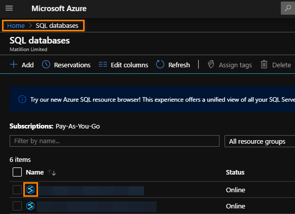 SQL Databases Azure Portal