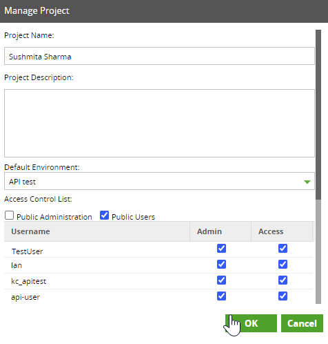 User Permissions for Project