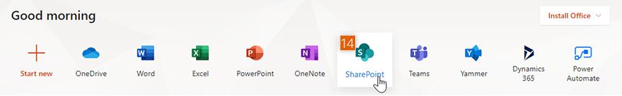 Microsoft Office services menu