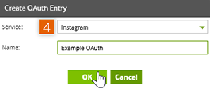 Create OAuth Entry window