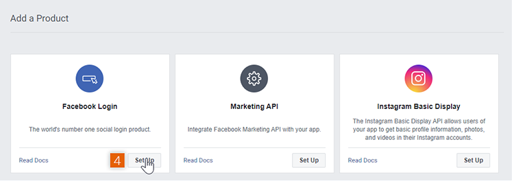 Add Facebook Login product on App Dashboard